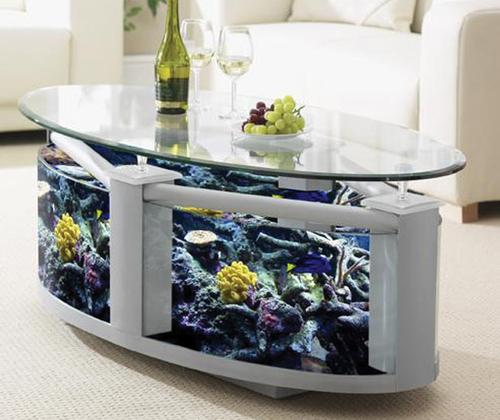 Choisissez la table basse aquarium pour un design couper le souffle table basse ronde - Table basse aquarium design ...